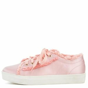 Cape Robbin Pink Suede Silk Fashion Sneakers Cute